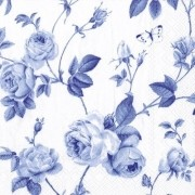 GUARDANAPO IHR RAMBLING ROSE WHITE BLUE