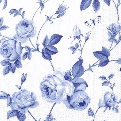 GUARDANAPO IHR RAMBLING ROSE WHITE BLUE
