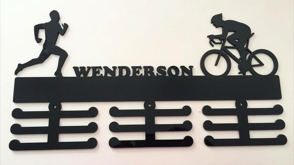Porta Medalhas Personalizado Acrílico Ciclismo  e Corrida