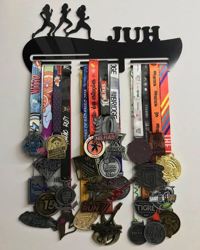 Porta Medalhas Personalizado Acrílico Corrida Feminino 1