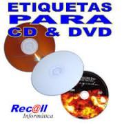 200 Etiquetas para CD e DVD Adesivas para impressoras Jato de Tinta e Laser - RECALL INFORMATICA