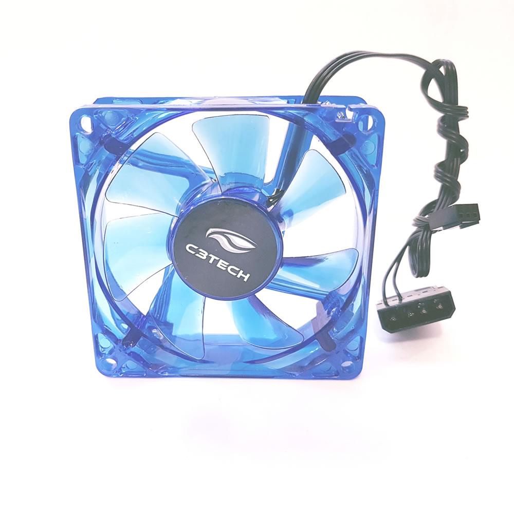 Cooler Gabinete 80mm Led 7 Laminas Storm F7-l50bl Azul C3Tech