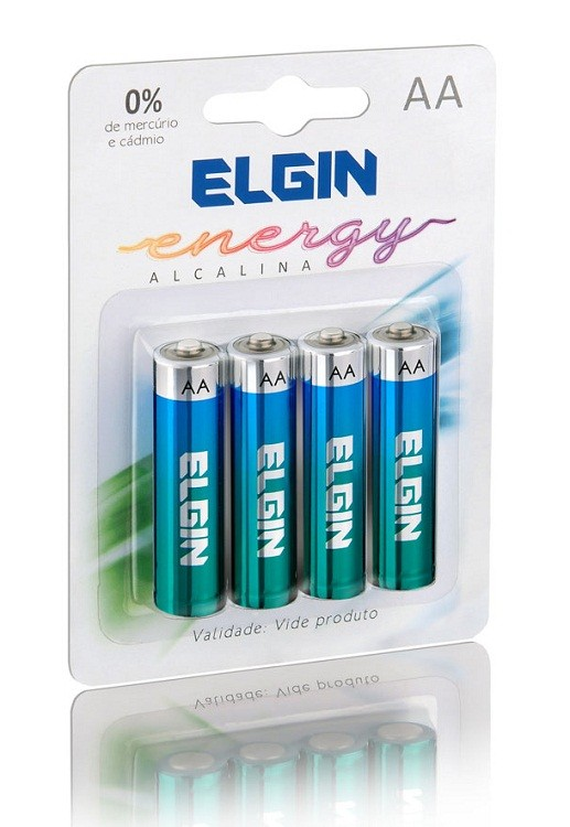 Pilha Alcalina AA Pack com 4 pilhas Elgin