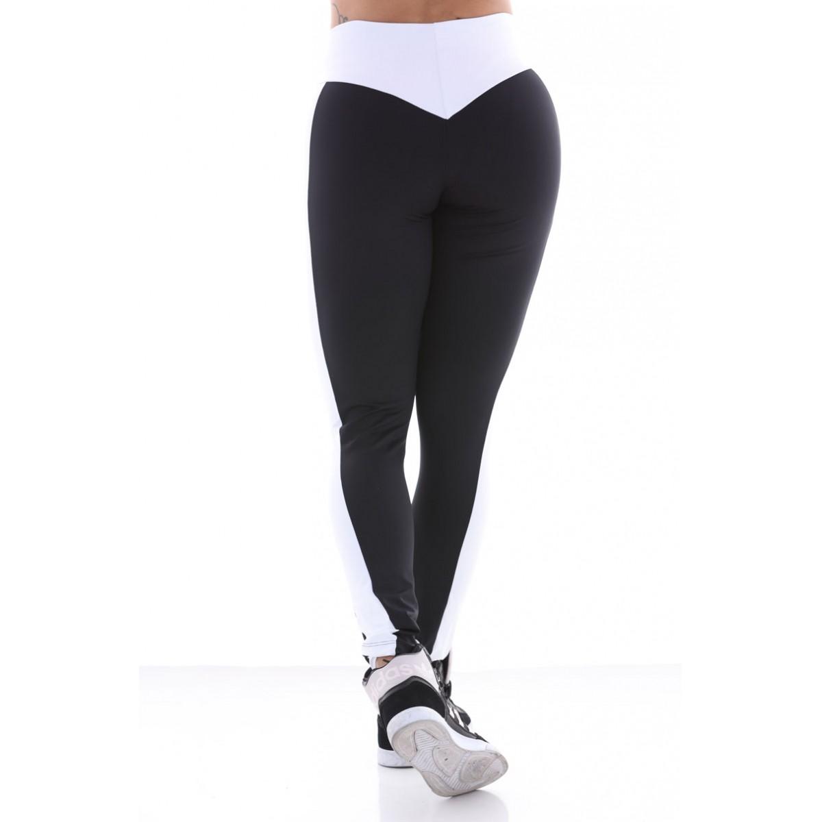 Calça Legging Preta Recorte Poliamida