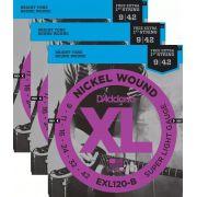 Kit 3 Encordoamento Guitarra Daddario Exl120 B 009 Mi Extra