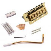 Ponte Para Stratocaster Com Tremolo Dourado Kit Completo
