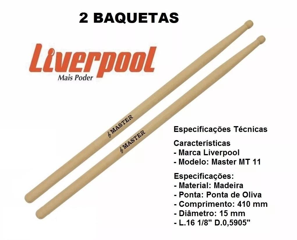 Baqueta Master Liverpool MT-11 Par Ponta Oliva