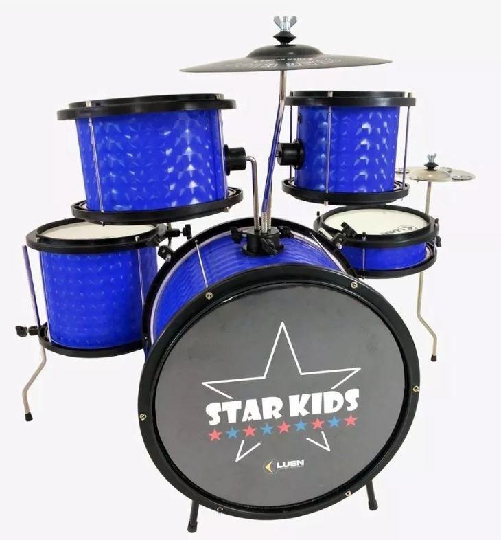 Bateria Infantil Star Kids Luen Azul Com Chimbal Completa