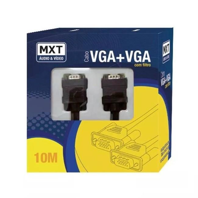 Cabo Vga 10 Metros Dupla Blindagem 8mm Profissional Filtro MXT