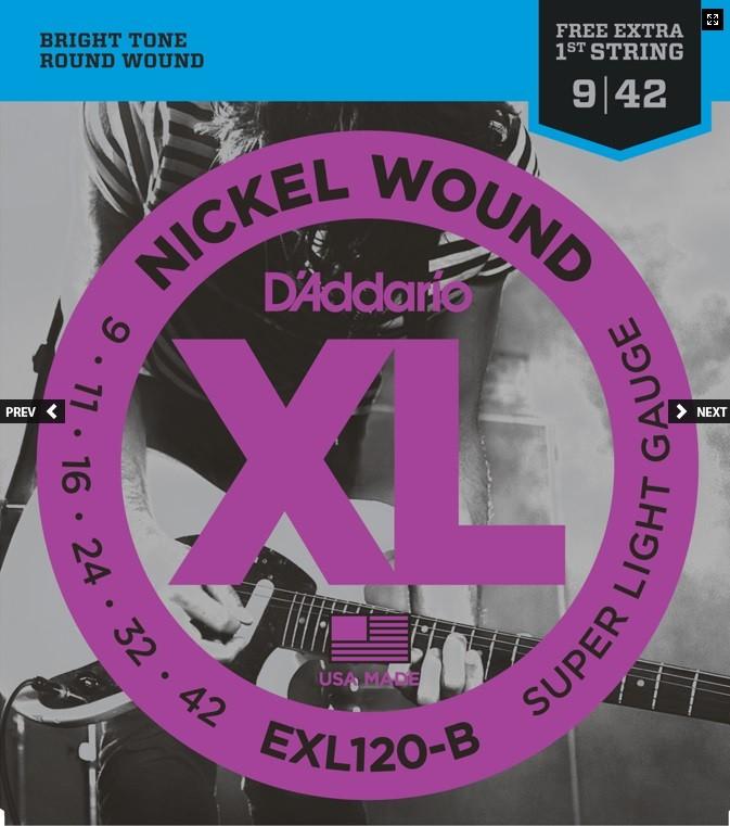 Encordoamento Guitarra 0.09 Daddario EXL120-B