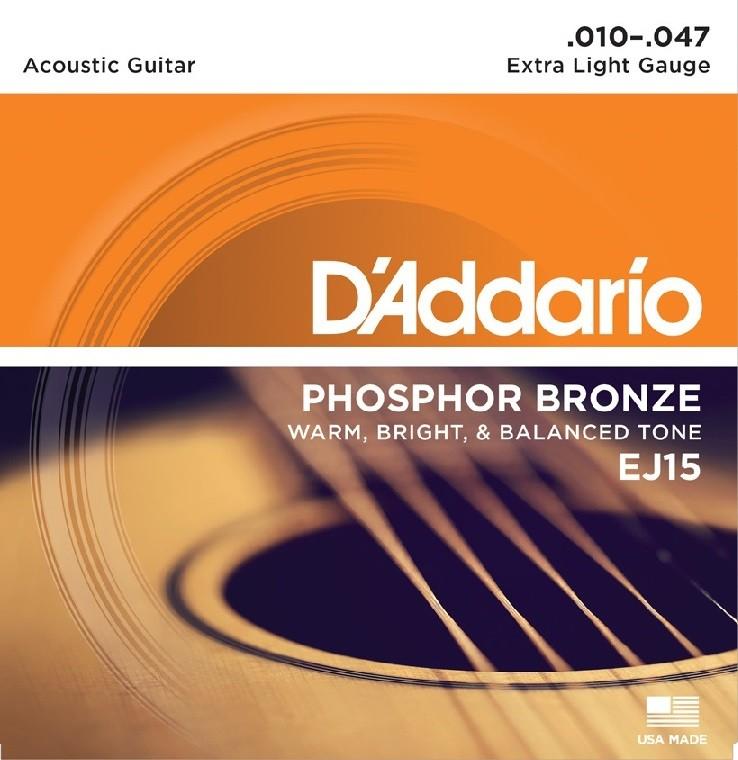 Encordoamento Violão Aço 0.10 Fosforo Bronze Daddario EJ15