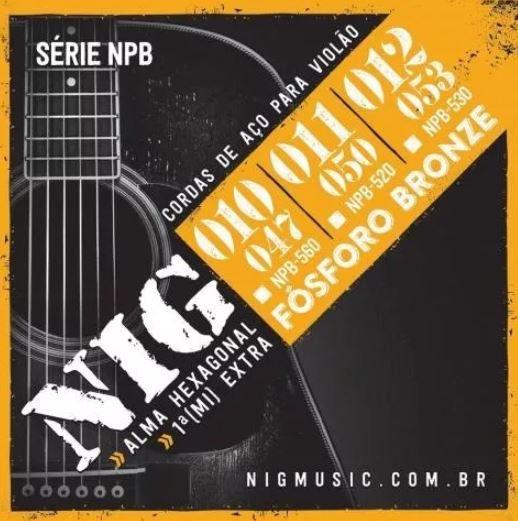 Encordoamento Violão Folk Aço 011 Npb520 Fósforo Bronze Nig