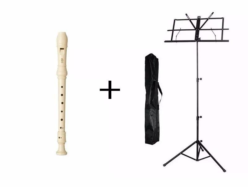 Flauta Doce Barroca Yamaha Yrs-24b + Estante Para Partitura