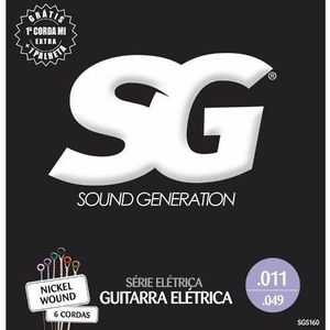 Kit 12 Encordoamento Guitarra 011 - Sg 5160 + Palheta
