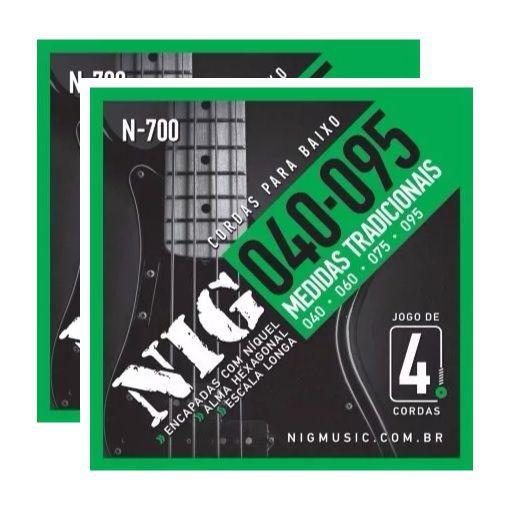 Kit 2 Encordoamento Para Contra Baixo 4 Cordas 040 Nig N700