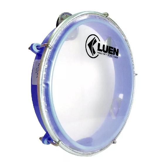 Kit 2 Pandeiro Luen 8 Junior Aro Abs Azul Pele Cristal