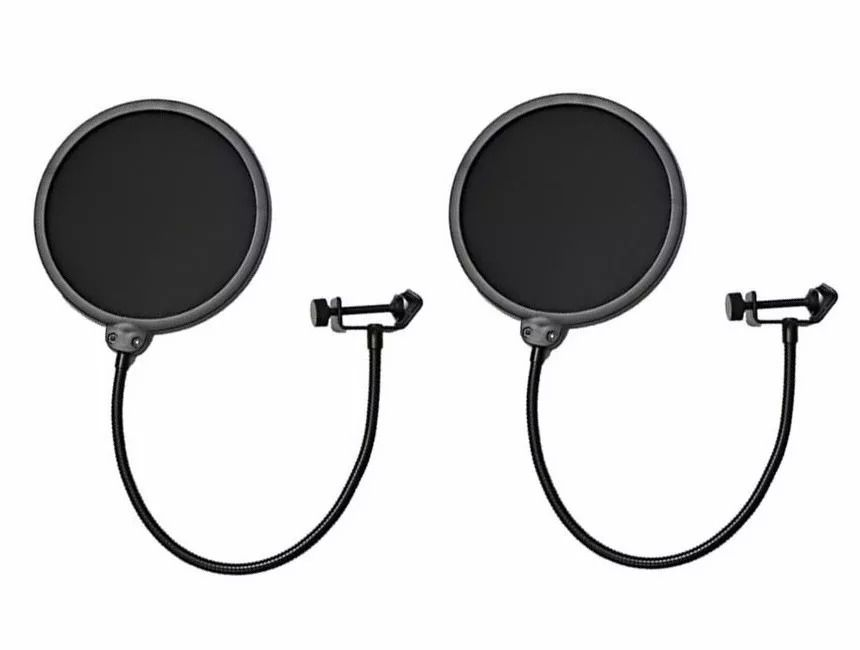 Kit 2 Pop Filter Tela Anti Sopro P/ Microfone Haste Flexível