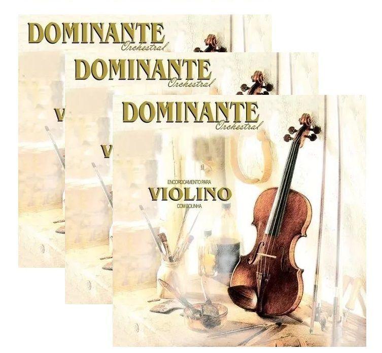 Kit 3 Encordoamento Cordas Violino Dominante Orchestral 89