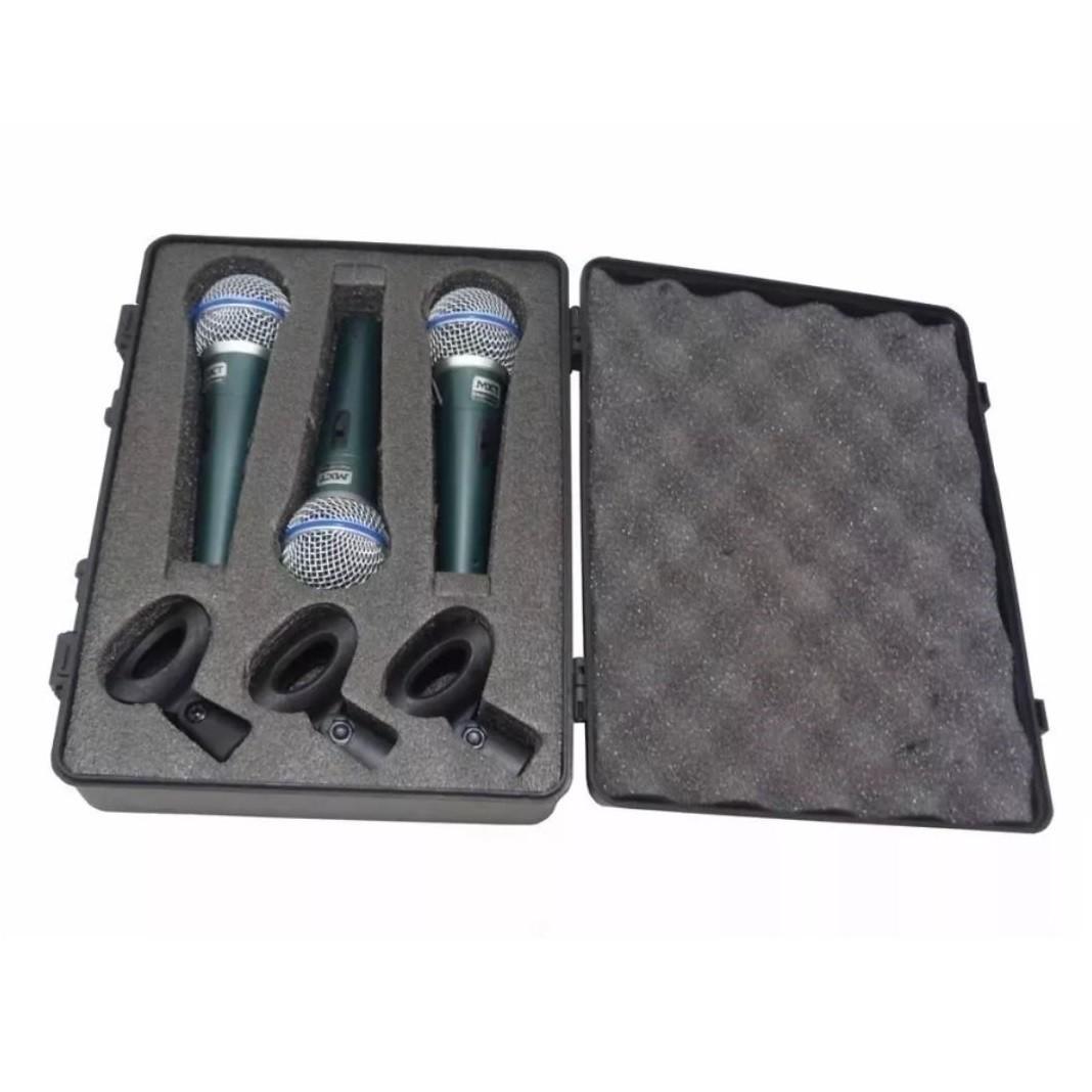 Kit 3 Microfones Profissionais MXT BT-58A Cachimbo Dinâmico