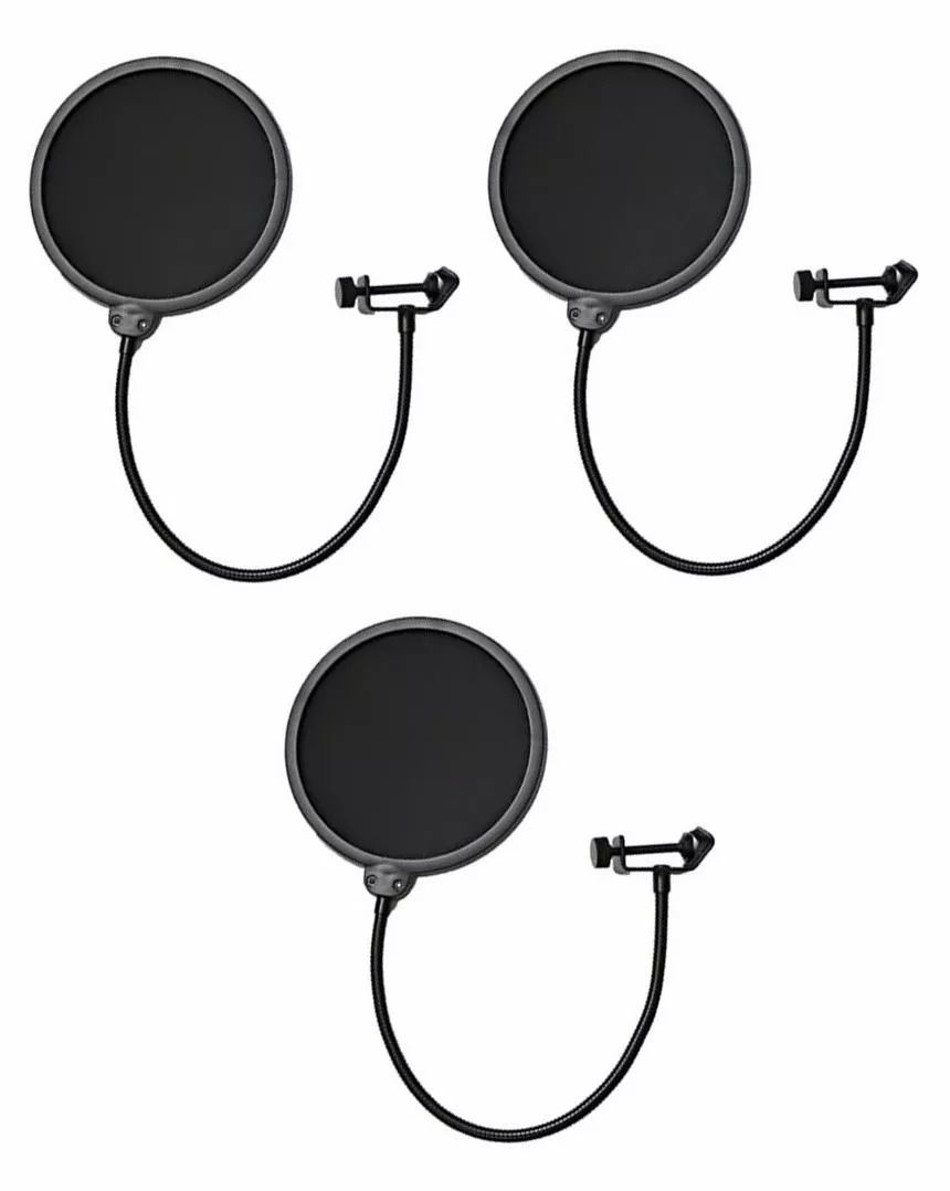 Kit 3 Pop Filter Tela Anti Sopro P/ Microfone Haste Flexível