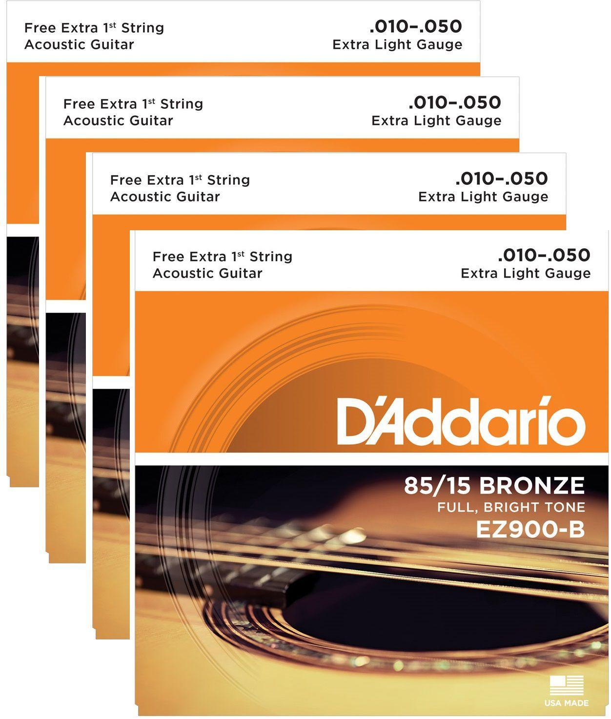 Kit 4 Encordoamento Cordas Daddario Violão Aço Ez900 010