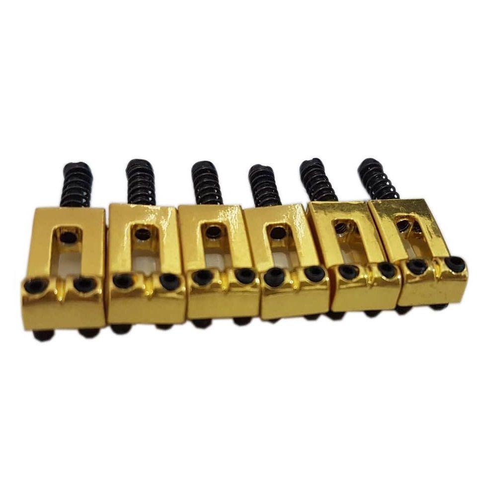 Kit 6 Carrinho Rastilho Ponte Guitarra Stratocaster Dourado