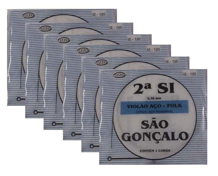 Kit 6 Cordas Violão Aço 2 Segunda Si São Gonçalo 120