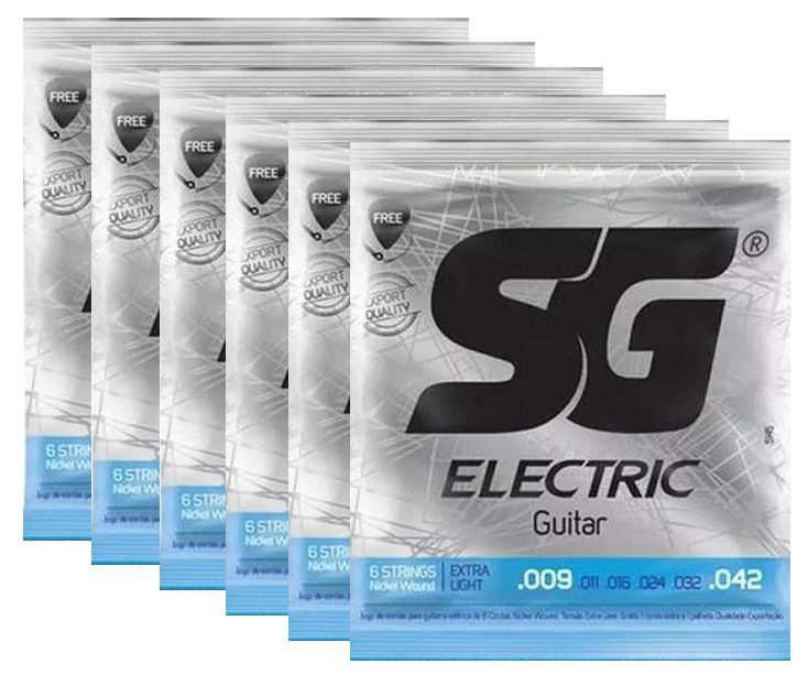 Kit 6 Encordoamento Guitarra 009 - Sg 5145 + Palheta