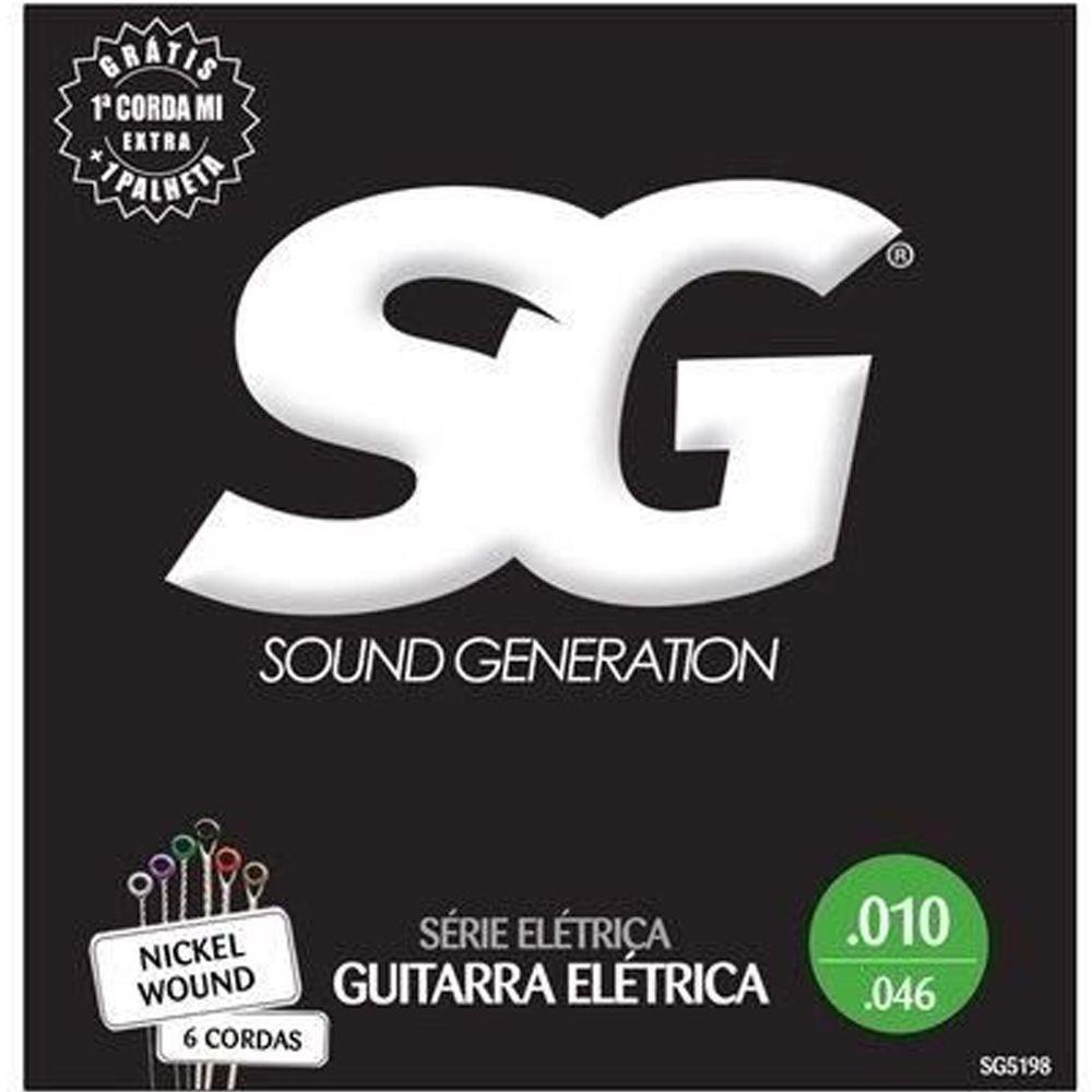 Kit 6 Encordoamento Guitarra 010 - Sg 5198 + Palheta
