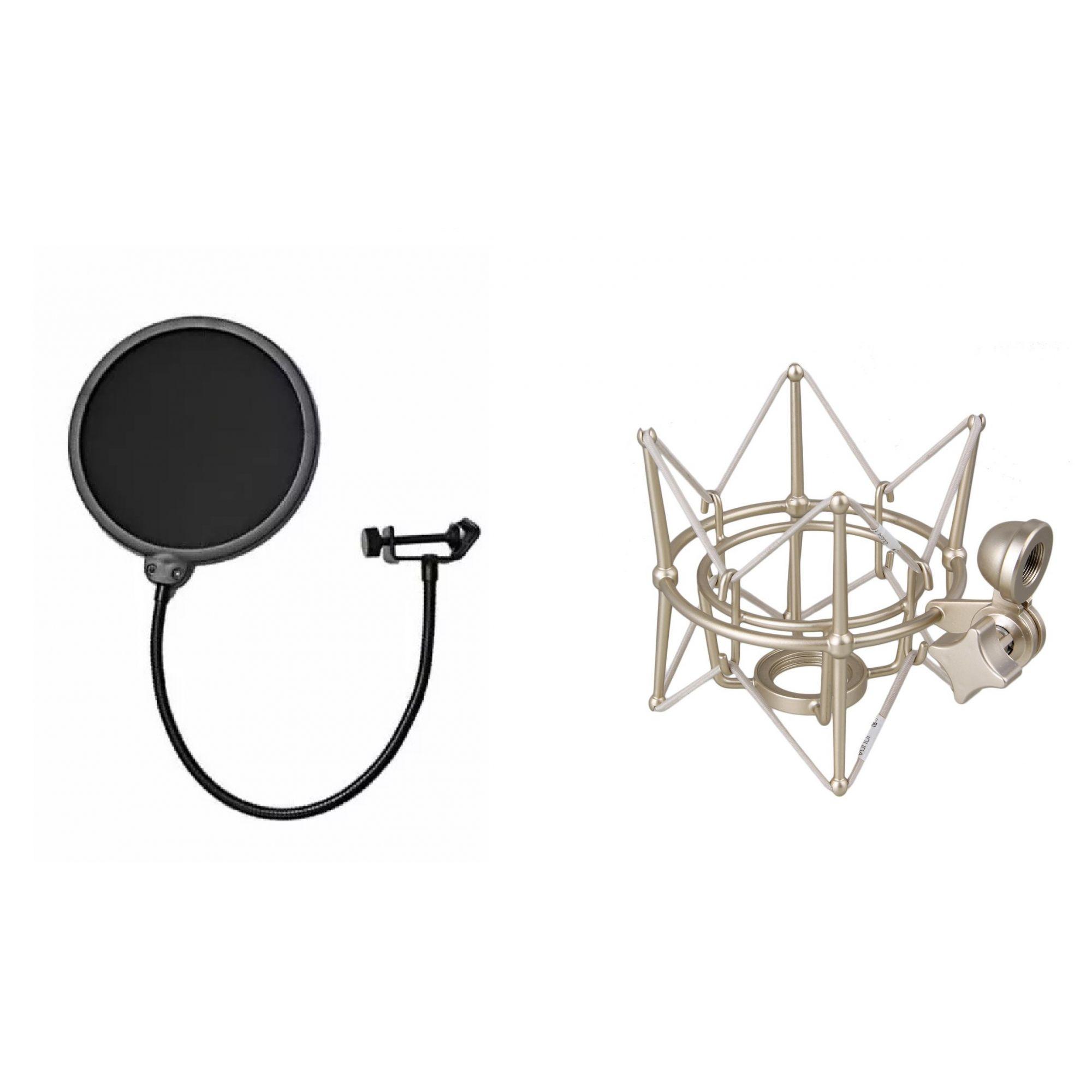 Kit Aranha Grande Prata + Pop Filter Microfone Condensador