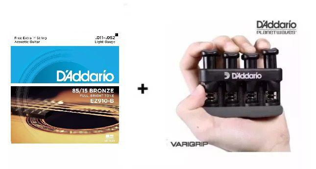 Kit Cordas Violão Aço 0.11 Light Ez910-b + Varigrip Daddario