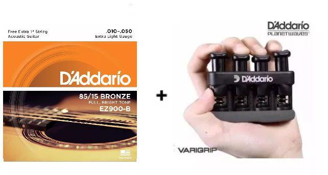 Kit Cordas Violão Aço Ez900b 0.10 + Varigrip Daddario