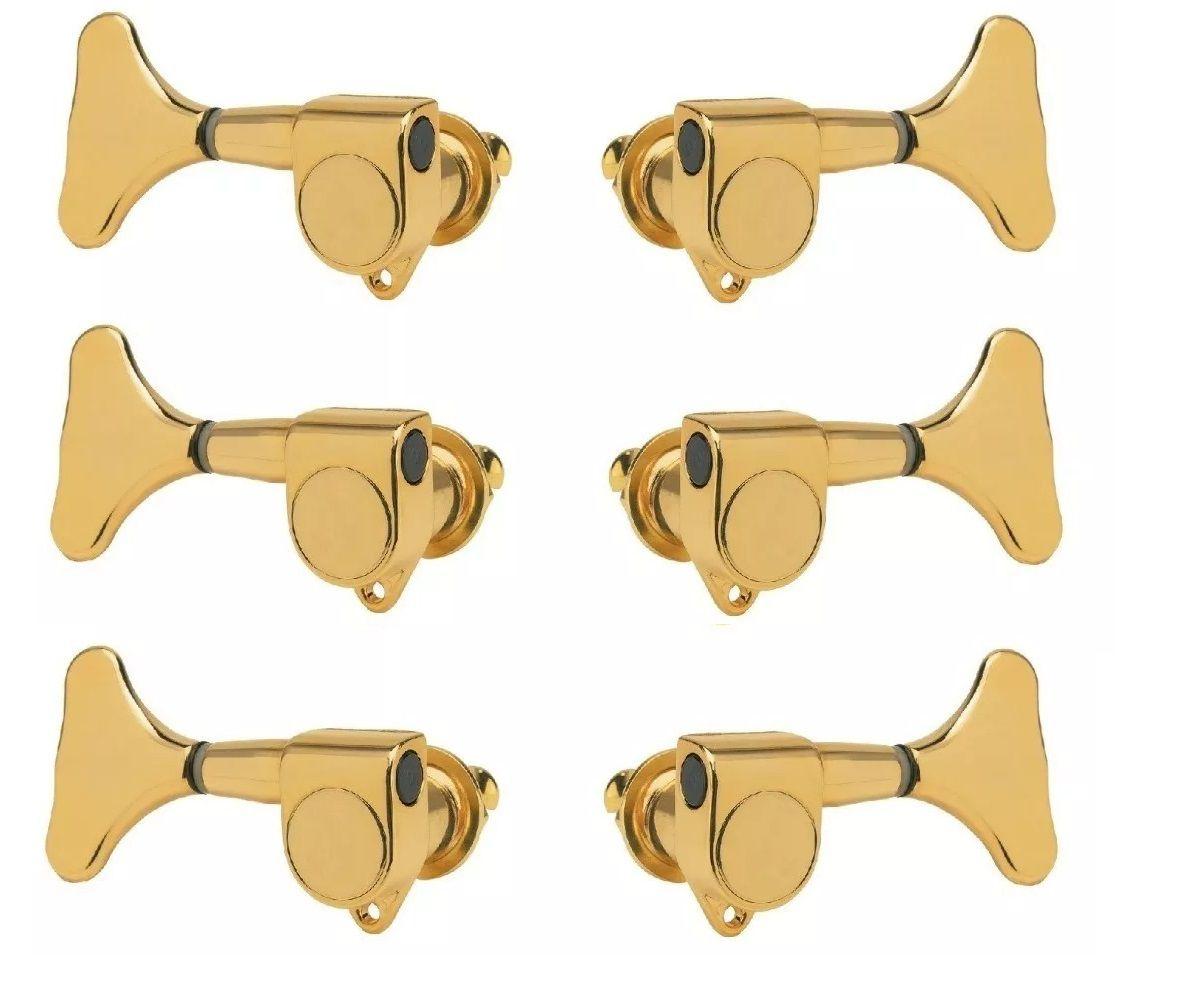 Kit Jogo 6 Tarraxa Para Contra Baixo Blindada Dourada 3+3