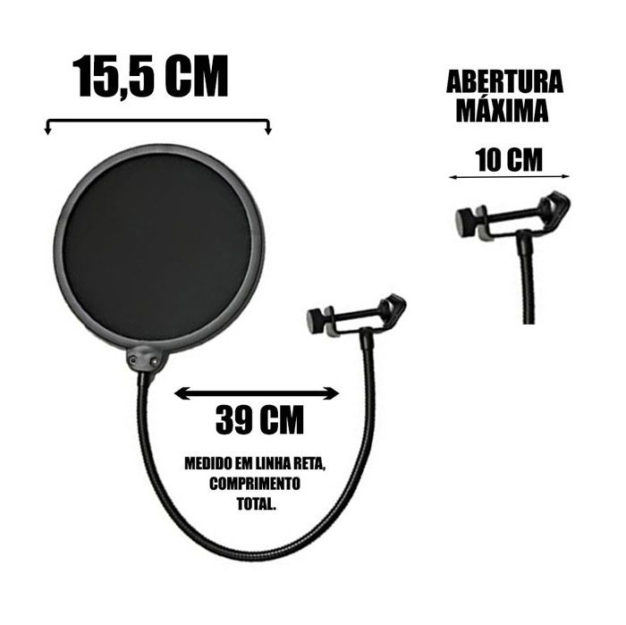 Kit Microfone Condensador Bm800 + Pedestal Articulado + Pop Filter