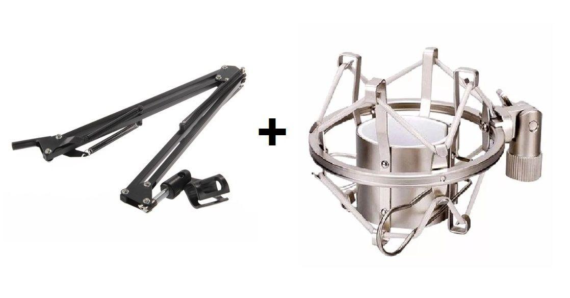 Kit Pedestal Suporte Mesa Articulado + Aranha para Microfone Preto ou Prata