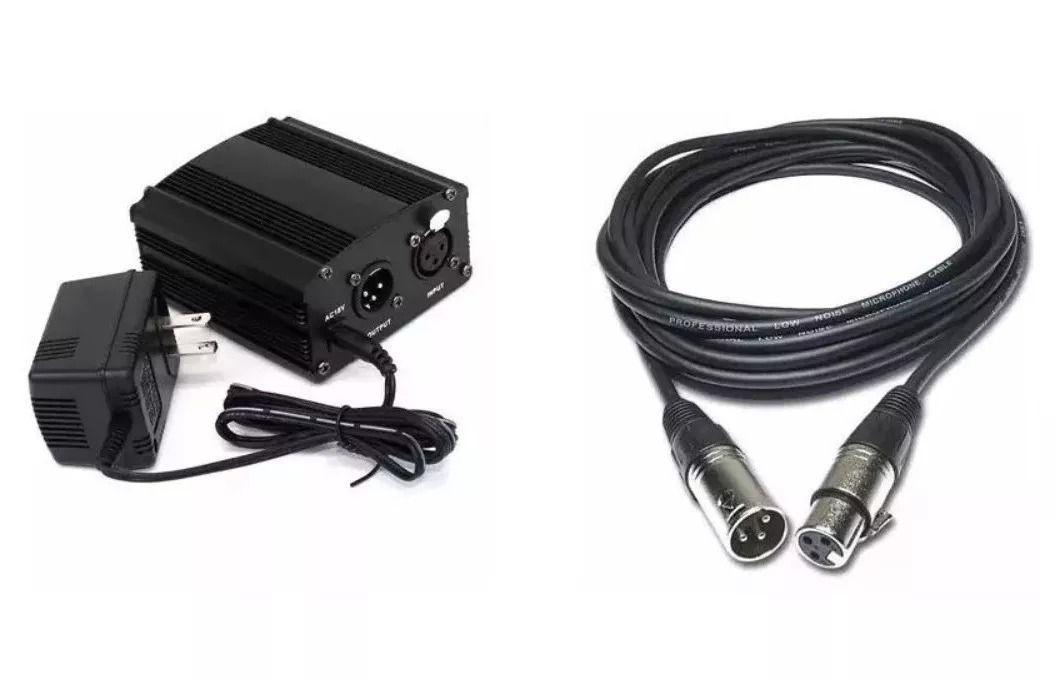Kit Phantom Power 48v Para Microfone + Cabo Xlr 1 Metro