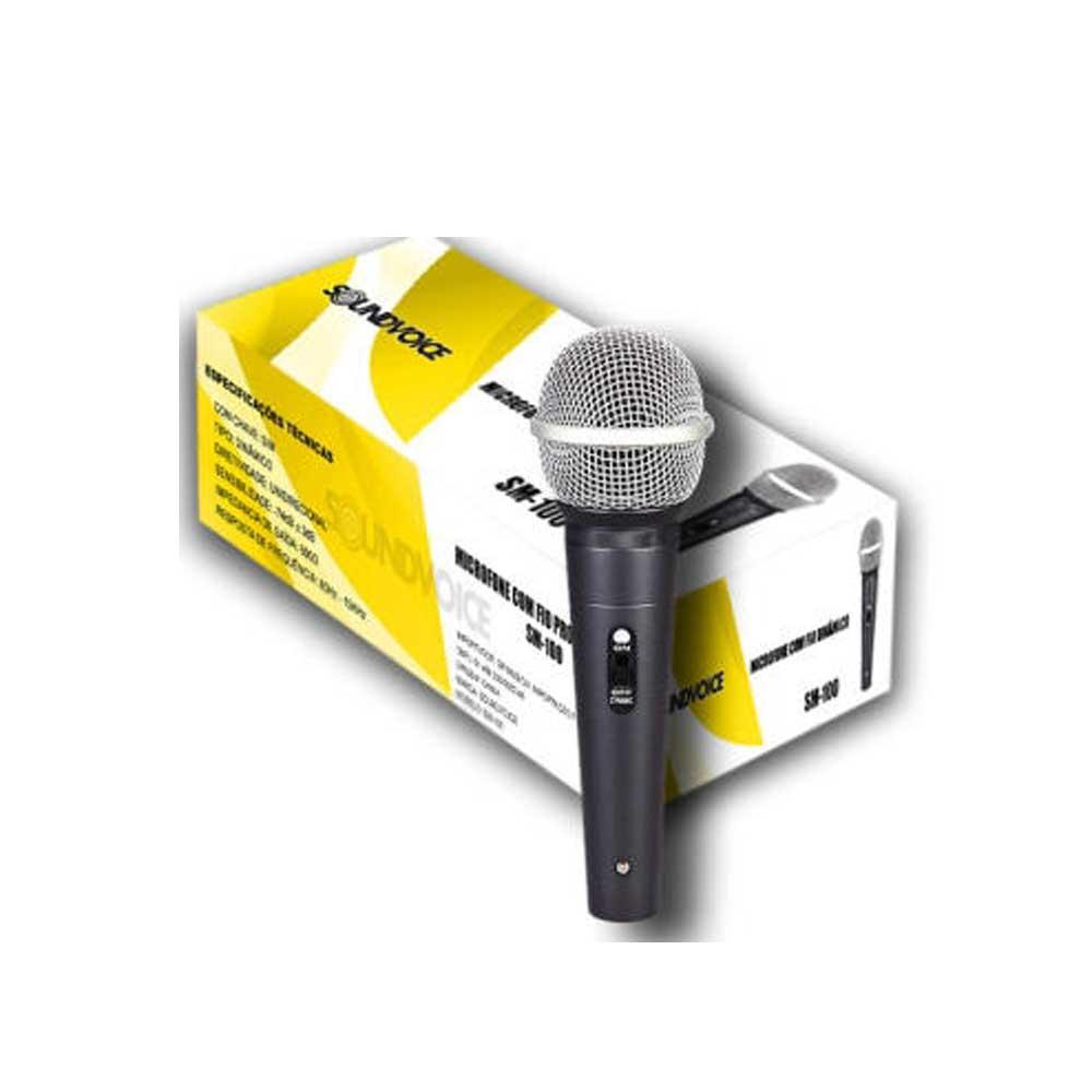 Microfone com fio Dinâmico Soundvoice SM-100