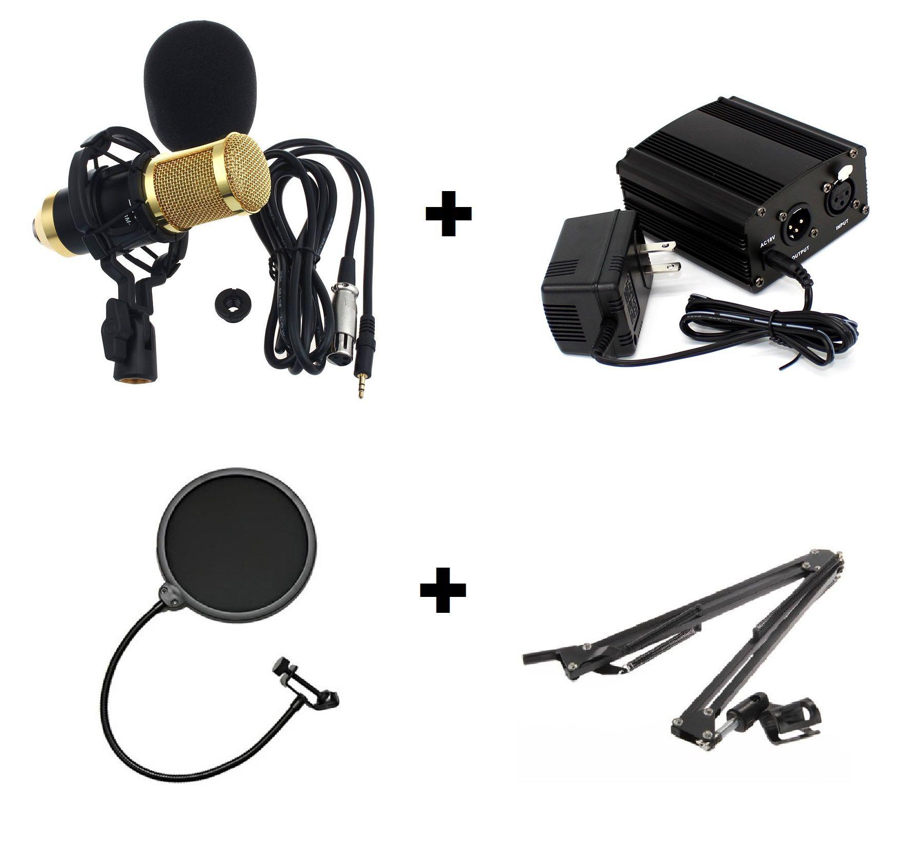 Microfone Condensador Bn800 Pedestal Articulado Pop Filter Fonte Phantom Power Cabo XLR 1 metro