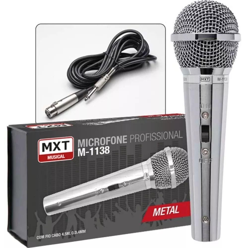 Microfone Mxt Profissional Metal M-1138 Com Cabo 4,5 Metros