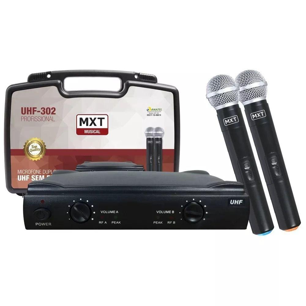Microfone Sem Fio Duplo Uhf Wireless Profissional Maleta Mxt
