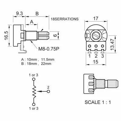 Potênciometro B250K Spirit VL1718H