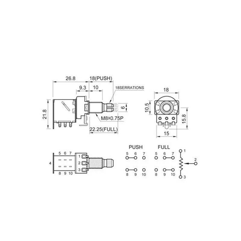 POTENCIÔMETRO PUSH-PULL LOG A500K VLPP1 SPIRIT