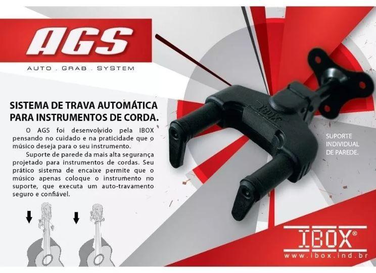 Suporte Parede Trava Ibox Ags Guitarra Violão Baixo Cavaco