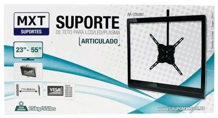 Suporte Teto Tv Lcd Led Plasma 23 A 55'' Articulado 25kg MXT