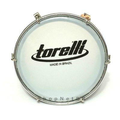 Tamborim Corpo Preto Pele Leitosa Tt404 Torelli + Baqueta