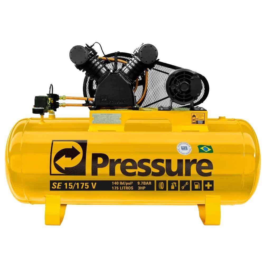 Compressor de Ar 15 PÉS 175 Litros Monofásico - PRESSURE SE15175VM