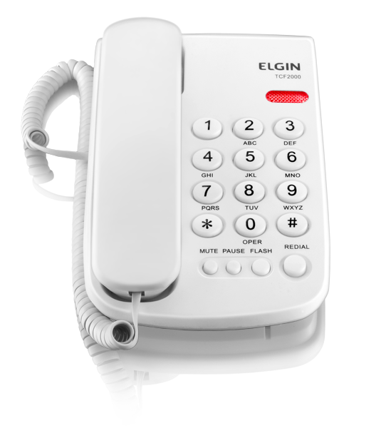 Telefone com Fio e Chave de Bloqueio Elgin TCF-2000 Branco