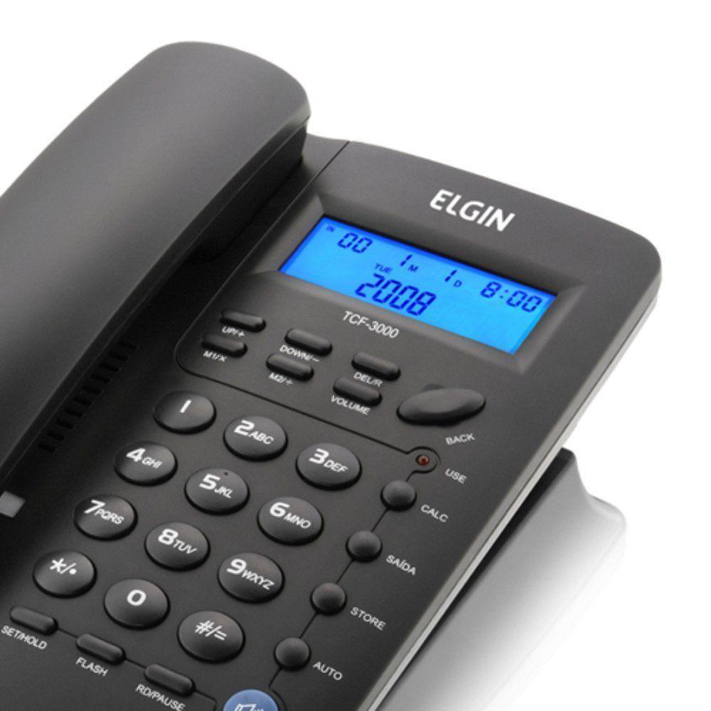 Telefone Com Fio Elgin TCF-3000 Com Viva-voz e Identificador de Chamadas
