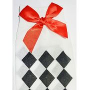 Meia  5/8 xadrez preto e branco c/ laço vermelho fantasia cosplay