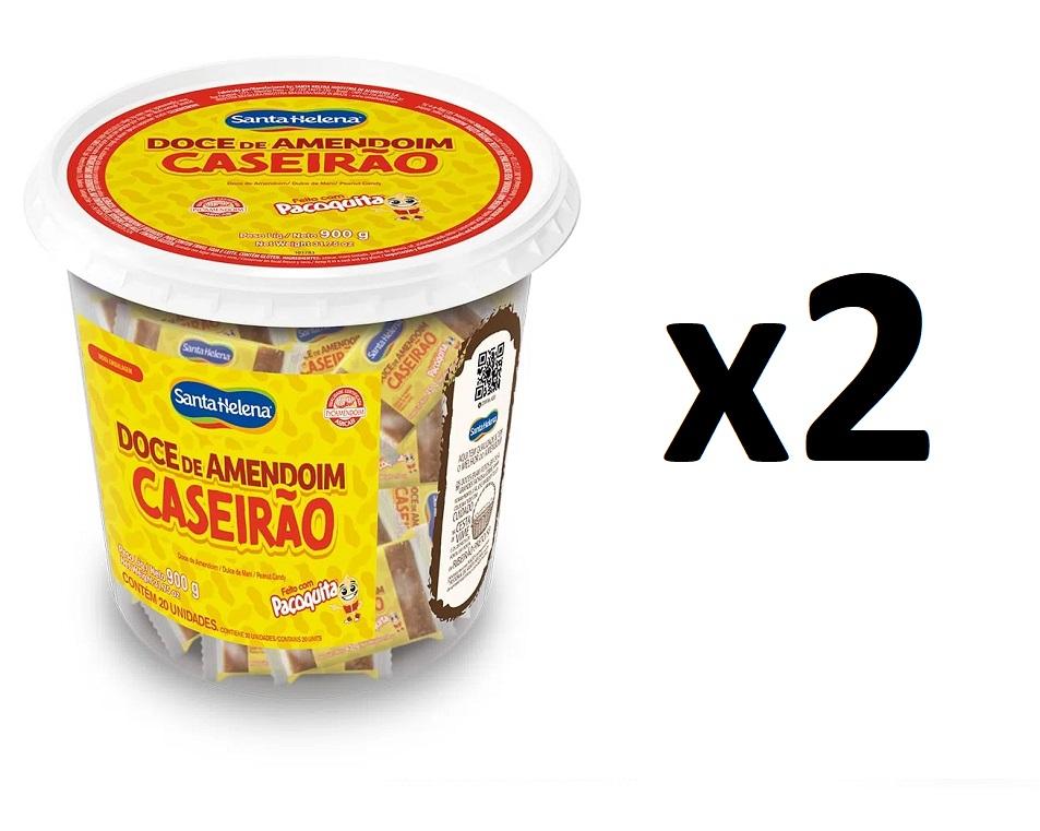 2 Potes Doce de Amendoim Caseirão c/ 20un 900gr Santa Helena